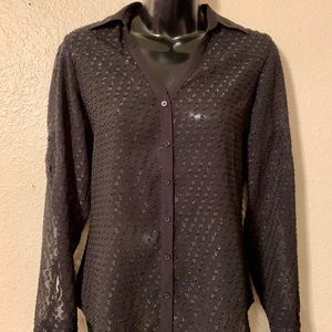 Express Button Front Black Sheer Shimmer Top  -XS